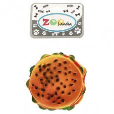 Psí pískací hračka ve tvaru hamburgeru 9cm