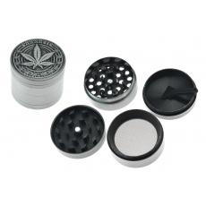 Kovová drtička (4cm) - Stříbrná, list