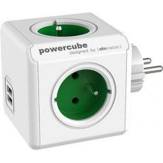 Zásuvka PowerCube ORIGINAL USB, Green, 4 rozbočka, 2x USB