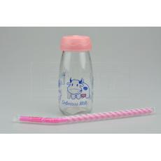 Skleněná lahev na mléko s plastovým víčkem a brčkem (250ml) - Růžová