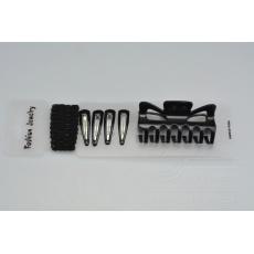 Vlasový set (9ks) sponky, gumičky a skřipec (8,5cm) - Černý