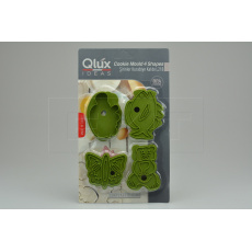 Set 4ks cukrářských vykrajovátek s razítkem 2v1 (8cm) QLUX - Zelený