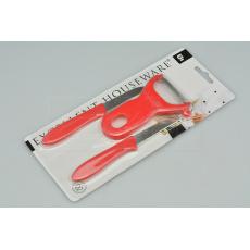 Praktický set škrabka + 2 škrabkové nože EH (11.5-16.cm) - Červený
