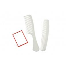 Zrcátko + 2x hřeben - Bílý set