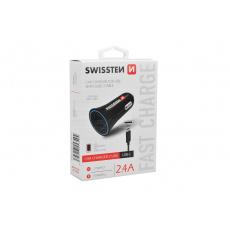 Nabíječka mobilů do auta SWISSTEN 2.4A 2USB - USB-C