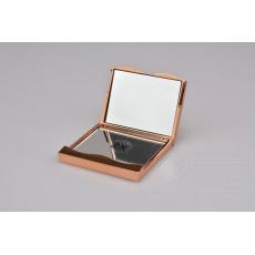 Třpytivé kapesní dvojité zrcátko s 2x zvětšením - Zlaté (6,7x6,3cm)