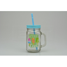 Skleněná lahev s potiskem na osvěžující nápoje s plechovým víčkem a brčkem (450ml) - Modrá