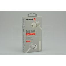 Stereo sluchátka s mikrofonem SWISSTEN YS500 METAL DYNAMIC - Stříbrné