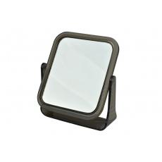 Oboustranné kosmetické zrcátko s dvojnásobným zvětšením ELEGANZA - Tmavě hnědé (13,5x11,5cm)