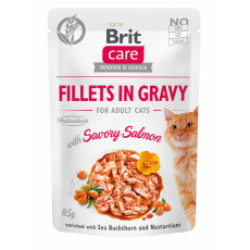 Brit Care Cat Fillets in Gravy with Savory Salmon 85 g 20+4 ZDARMA