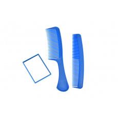 Zrcátko + 2x hřeben - Modrý set
