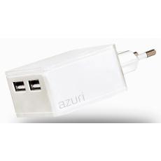 Azuri síťový Dual Smart nabíječ USB 4800mA, White