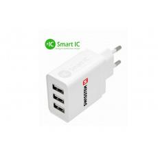 SWISSTEN síťový adaptér Smart IC 3x USB 3,1 A power
