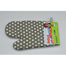 Teflonová kuchyňská rukavice s magnetem - Šedá s puntíky (25cm)