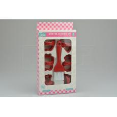 Set 7ks cukrářských vykrajovátek (5cm) se štětečkem (14x4cm) QLUX - Červený