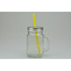 Skleněná lahev na osvěžující nápoje s plechovým víčkem a brčkem EH (450ml)