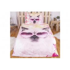 3D povlečení 140x200 + 70x90 - Crazy cat