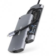 AXAGON HMC-6M2, USB 3.2 Gen 1 hub, 2x USB-A, HDMI, RJ-45 GLAN, SATA M.2, PD 100W, kabel USB-C 18cm