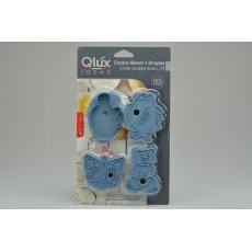 Set 4ks cukrářských vykrajovátek s razítkem 2v1 (8cm) QLUX - Modrý