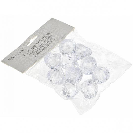 Sada akrylátových broušených diamantů s očkem na zavěšení 10ks