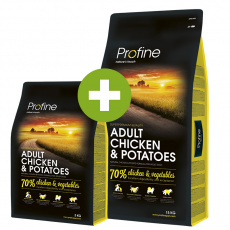 Profine Adult Chicken & Potatoes 15kg + 3kg ZDARMA