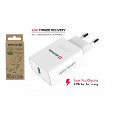 Síťový adaptér PD 25 W pro iPhone a Samsung, bílý (ECO BALENÍ)