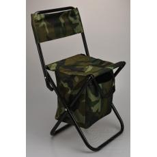 Kempingová židle na ryby s kapsou - Maskáčová (60cm)