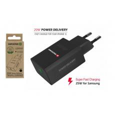 Síťový adaptér PD 25 W pro iPhone a Samsung, černý (ECO BALENÍ)