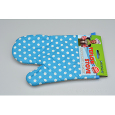 Teflonová kuchyňská rukavice s magnetem - Modrá s puntíky (25cm)