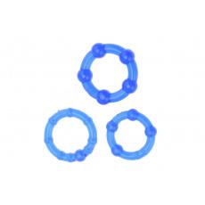 Kroužky na penis (2-2.5-3cm) - Sada 3ks, modrá