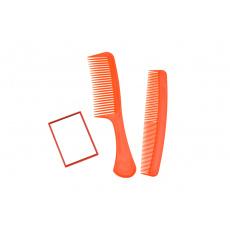 Zrcátko + 2x hřeben - Oranžový set