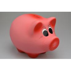 Sádrová pokladnička v dárkovém celofánu - Růžové prasátko (21cm)