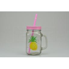 Skleněná lahev s potiskem na osvěžující nápoje s plechovým víčkem a brčkem (450ml) - Růžová