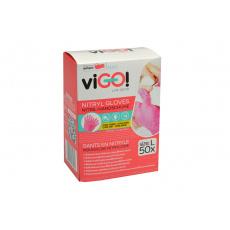 Jednorázové nitrilové rukavice VIGO 50ks růžové - Velikost L