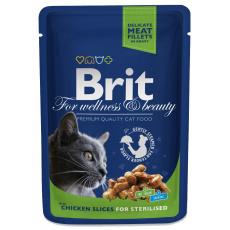Brit Premium Cat Pouches kuřecí kousky pro kastrované 100 g 20+4 ZDARMA