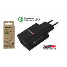 Síťový adaptér 2x USB QC 3.0 + USB, 23 W, černý (ECO BALENÍ)