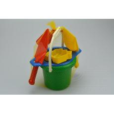 Dětská sada na písek - Kyblík, sítko, lopatka, bábovka, rýč