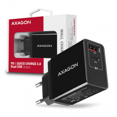 AXAGON ACU-PQ22, PD & QUICK nabíječka do sítě 22W, 2x port (USB + USB-C), PD3.0/QC3.0/AFC/FCP/Apple