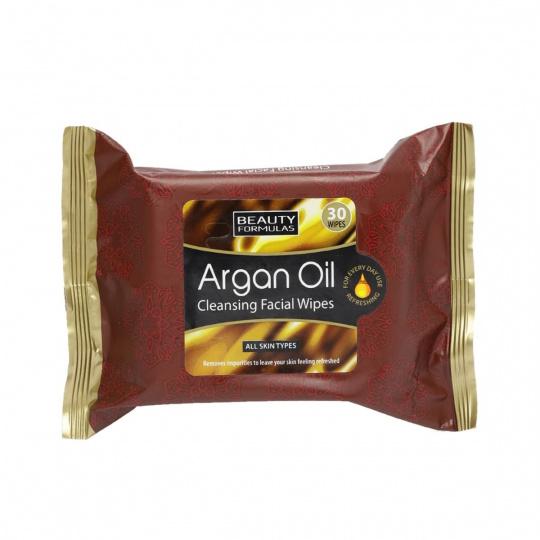BEAUTY FORMULAS Čistící obličejové ubrousky s arganovým olejem 30ks