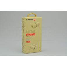 Stereo sluchátka s mikrofonem SWISSTEN YS500 METAL DYNAMIC - Zlaté