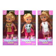 Mini panenka s pejskem Happy Girl (11cm) - Mix barev, 1ks
