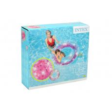 Nafukovací kruh INTEX 56274 - Růžový se třpytky (119cm)