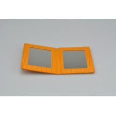 Kapesní zrcátko MR.PIN v imitaci kůže - Žluté (10,5x8cm)