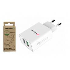 Síťový adaptér 2x USB QC 3.0 + USB, 23 W, bílý (ECO BALENÍ)