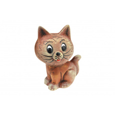 Sádrová pokladnička v dárkovém celofánu - Hnědá kočička (17cm)