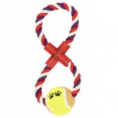 Psí hračka s míčkem uzel s tenisákem 18cm