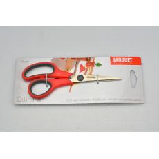 Protiskluzové nůžky pro domácnost BANQUET - Červené (15cm)