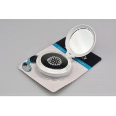 Kapesní zrcátko s kartáčem na vlasy ELEGANZA - Bílé (7,5x3,5cm)