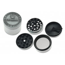 Kovová drtička (4cm) - Stříbrná, cannabis