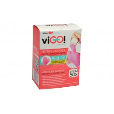 Jednorázové nitrilové rukavice VIGO 50ks růžové - Velikost M